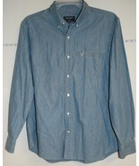 Men's AEO Size XL Blue Chambray Long Sleeve Button Down Athletic Fit Shirt - $8.09