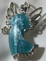 Vtg Angel Brooch Liz Claiborne Blue Mother of Pearl Tiled Mosaic Silver Tone - $16.61
