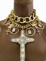 Doré Chaînes Grand Croix Crucifix Pendentif Bavoir Multicouches Collier Imposant - $66.43