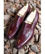 Handmade Men Burgundy color leather shoes moccasins, Men burgundy formal... - $169.99
