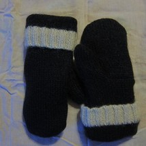 Recycled Wool Mittens Black with White Trim Fleece Lined Size Teens Ladi... - $13.86