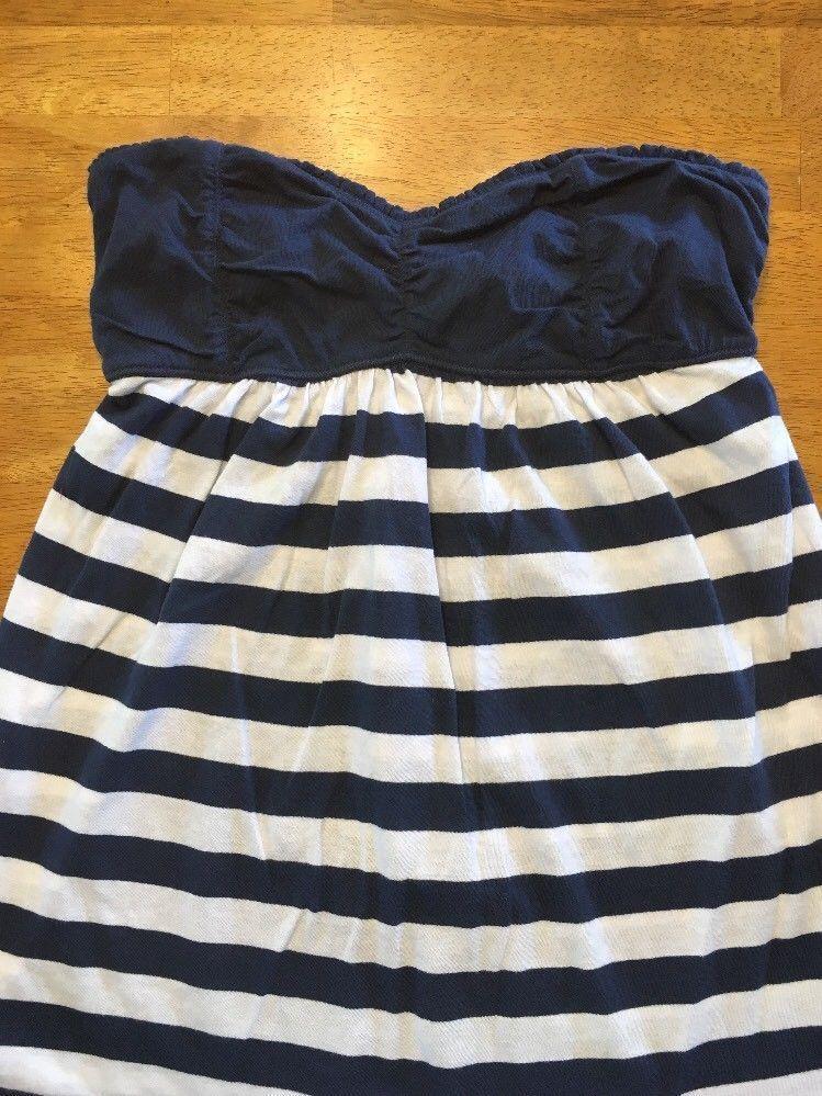 Abercrombie New York Blue & White Striped Girls Tube Top Shirt - Size: XL image 2