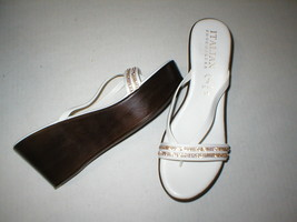 New Womens 10 Italian Shoemakers Crystals Wedge Sandals Platform Shoes White Brn image 1