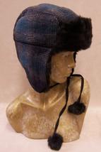 Teen Teenage Junior Girls Winter Hat Cap Blue Plaid w/ Faux Fur Bomber Style - $12.86