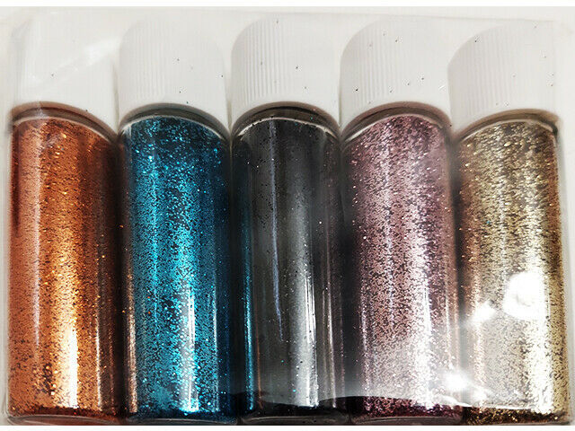 Fine Glitter, 5 Containers, 5 Colors