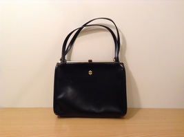 Vintage Elite Black Genuine Leather Handbag / Clutch