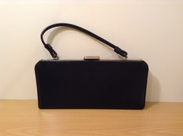 Vintage ATNA Black Faux Leather Handbag Clutch Purse