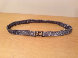 Silver Sequins Elastic Belt with Metal Buckle with Clear Crystals