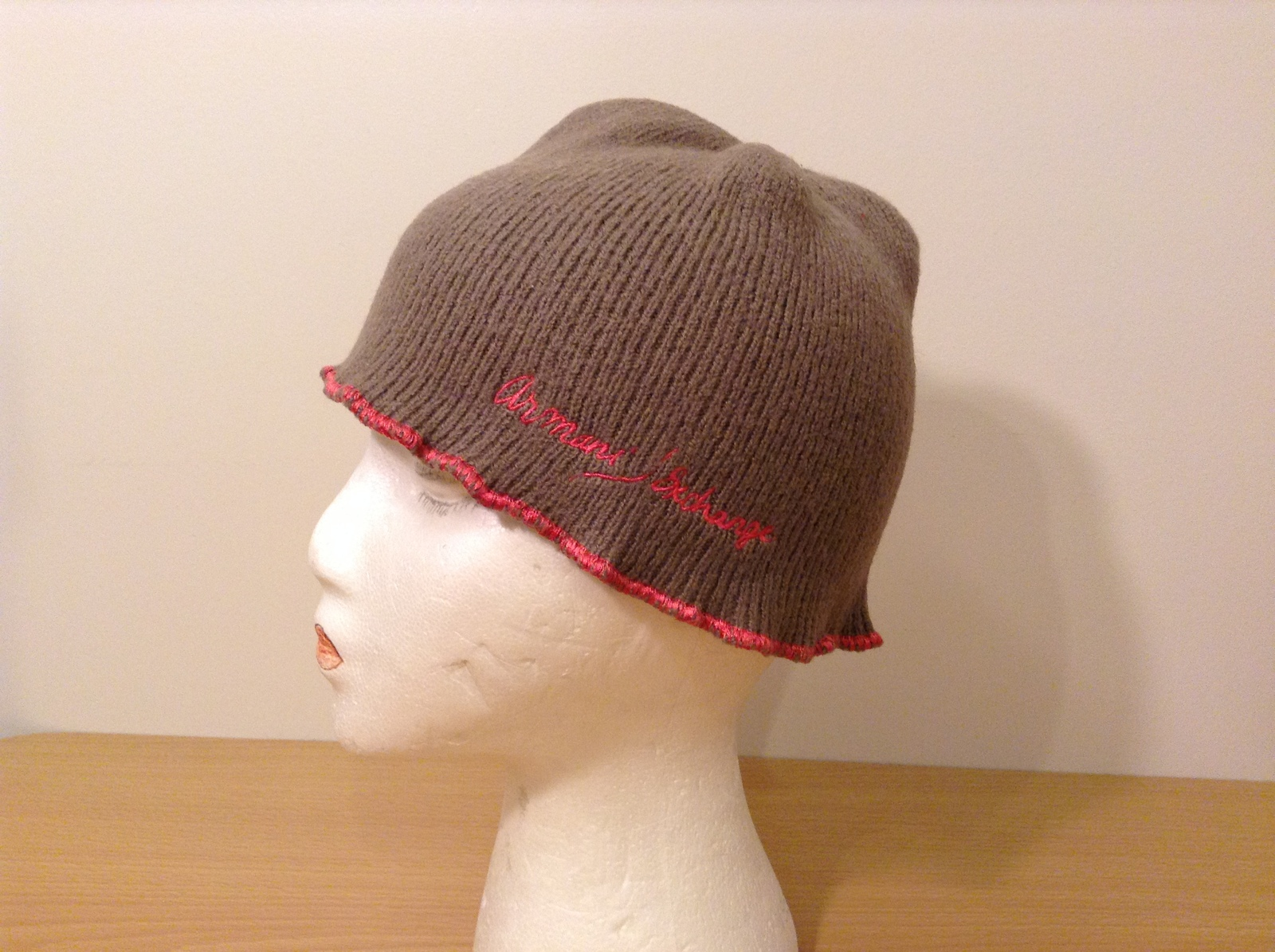 Armani Exchange Brown/Gray Small Hat with Pink Edging and Embroidery 100% Wool