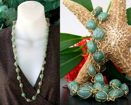 Vintage Green Gemstone Necklace Gold Tone Wire Wrapped Polished Stones - $24.95