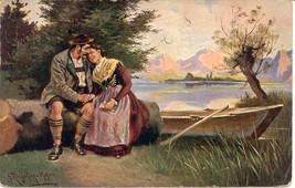 Tyrolean Lovers Artist Signed 1907 Vintage Post Card - $6.00