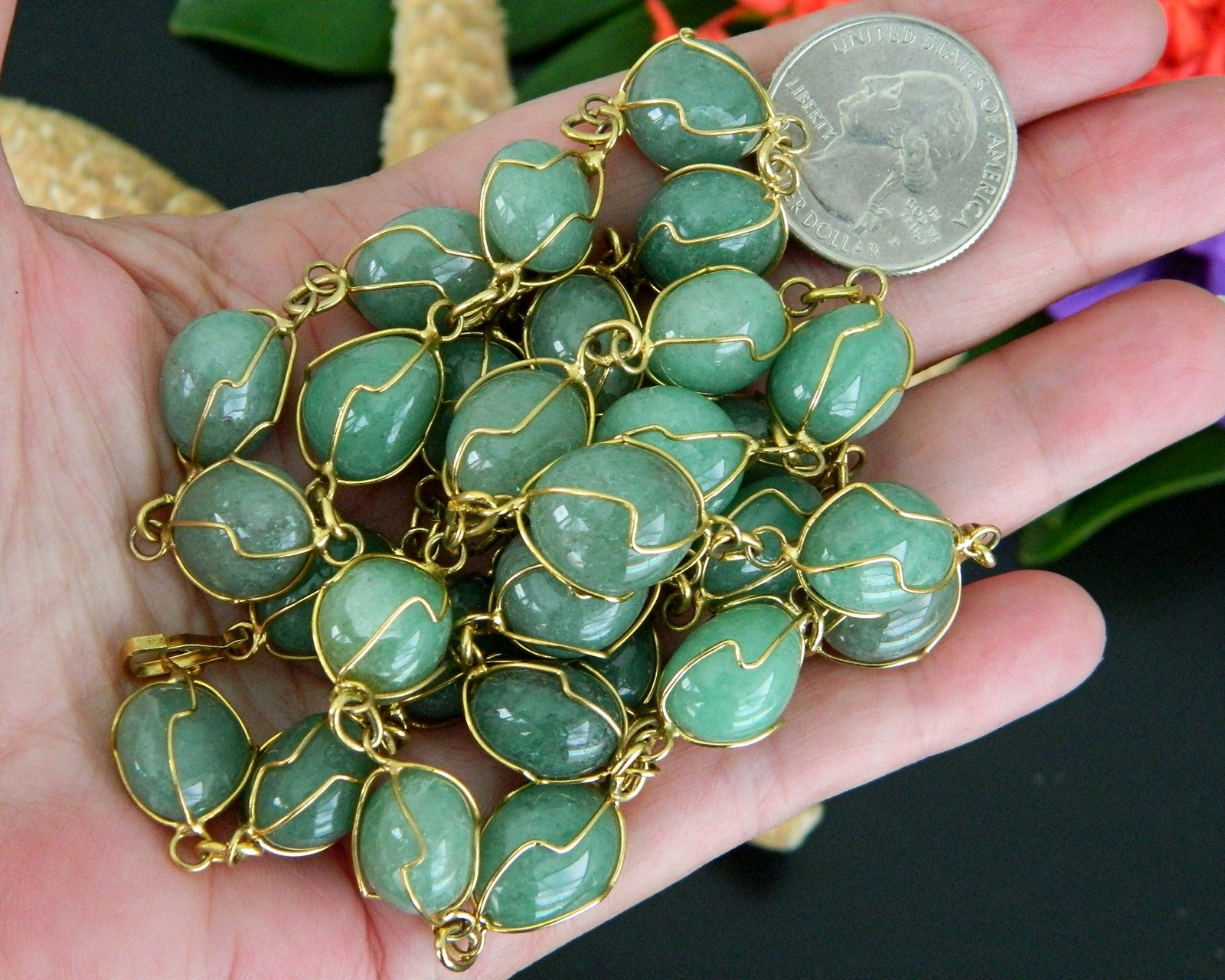 Vintage Green Gemstone Necklace Gold Tone Wire Wrapped Polished Stones
