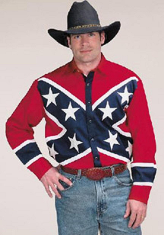 men 39 s western shirt rebel flag cotton confederate casual