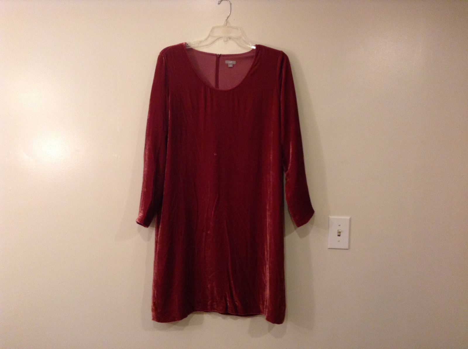 J.Jill Dark Pink/Red Velvet Knee Length Dress Deep Scoop Neck Fully Lined Size L