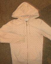 AEROPOSTALE * Womens Medium cream white w polka dots casual Hoodie JACKE... - $9.65