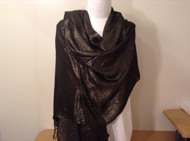 New Lurex Sparkle Black Gold Shawl Scarf with Fringe, by Magic Scarf