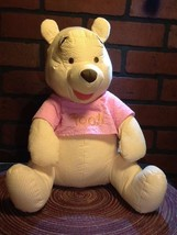"12"" Sitting Disney Winnie the Pooh Plush-Stripe Searsucker Rare-Too Cute Vintage - $16.95"