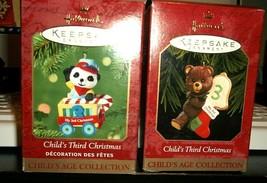 Lot of 2 Vintage Hallmark Keepsake Child's 3rd Christmas Ornaments 1999/2001 - $14.00