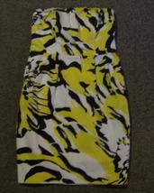 EXPRESS * Womens sz 4 Colorful white yellow & black strapless party Dress - $13.60