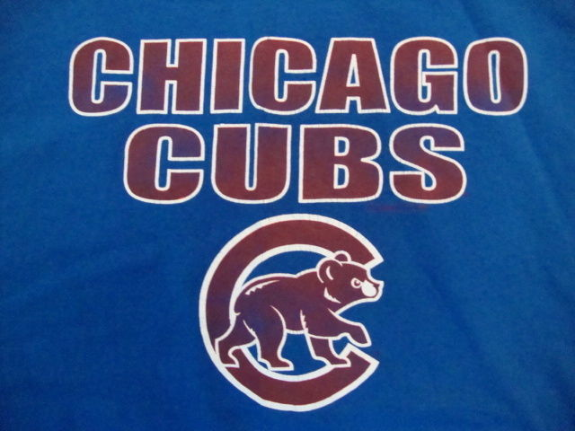 Primary image for MLB Chicago Cubs Major LEague Baseball Fan Apparel Blue T Shirt Size L