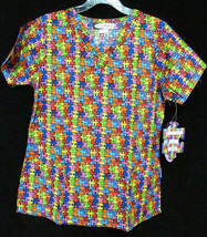Autism Awareness XS Puzzle Piece V Neck Medical Scrub Top Women New - $19.57