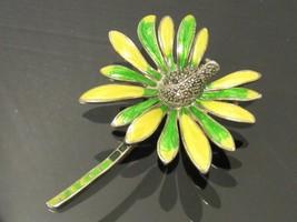 Vintage Art Nouveau Sterling silver Marcasite Enamel Floral Pin Brooch - $85.00
