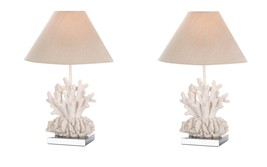 2 White Coral Table Lamps on Stainless Steel Square Base Neutral Color S... - $147.95