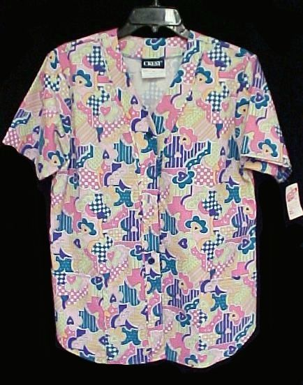 Primary image for Crest Uniforms Small Pink Scrub Top Hearts Multi Colors Buttons V Neck 2 Pkt New
