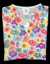 Peaches Scrub Top XS V Neck Spring Print Flowers Retro Flower Power Cott... - $16.46