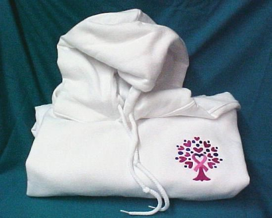 Pink Ribbon Heart Hoodie Large Sweatshirt Tree of Life White Breast Cancer New - $31.65
