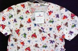 Print Scrub Top XS Hearts Ribbon Mock Wrap Cotton Blend Nursing Scrubs New - $15.49