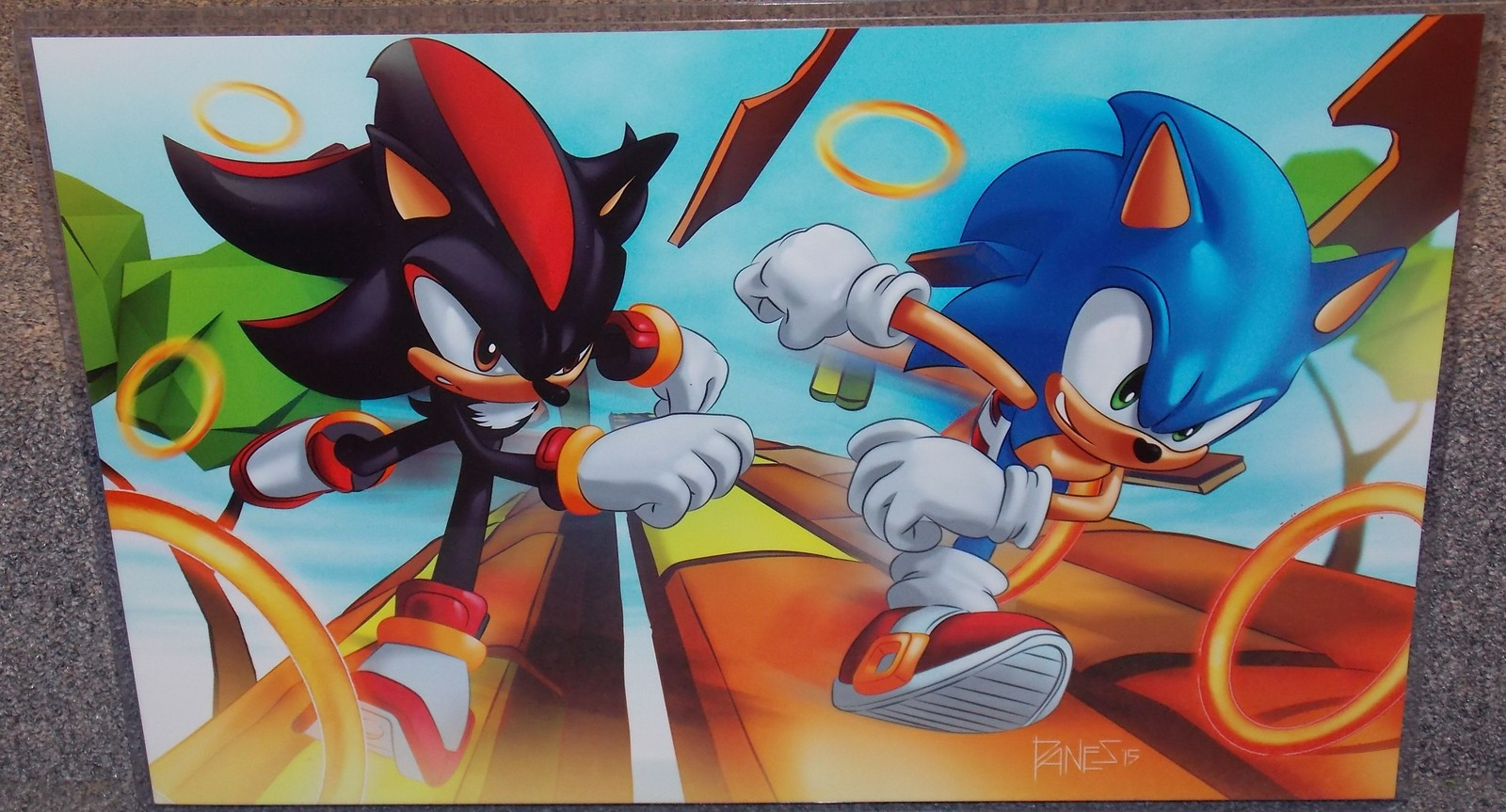 Primary image for Sonic The Hedgehog vs Shadow Glossy Print In Hard Plastic Sleeve