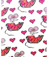 St Jude's Fashion V-Neck Mouse Small Watermelon Heart Pink Trim Scrub To... - $18.40
