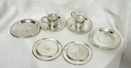 Vintage Set of 2 Clear Glass Demitasse Espresso Coffee Cups Saucer Collectible - $68.57