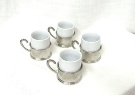 Vintage Set of 4 Porcelain Milk White Demitasse Espresso Coffee Cups Collectible - $68.57