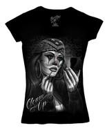 DGA David Gonzales Art Angels Clown Up Makeup Bandanna Cholo V Neck T Shirt - $22.95+