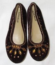 Olivia Miller Brown Velvet Embellished Beads & Rhinestones Flats SM 6.5 - 7.5 M