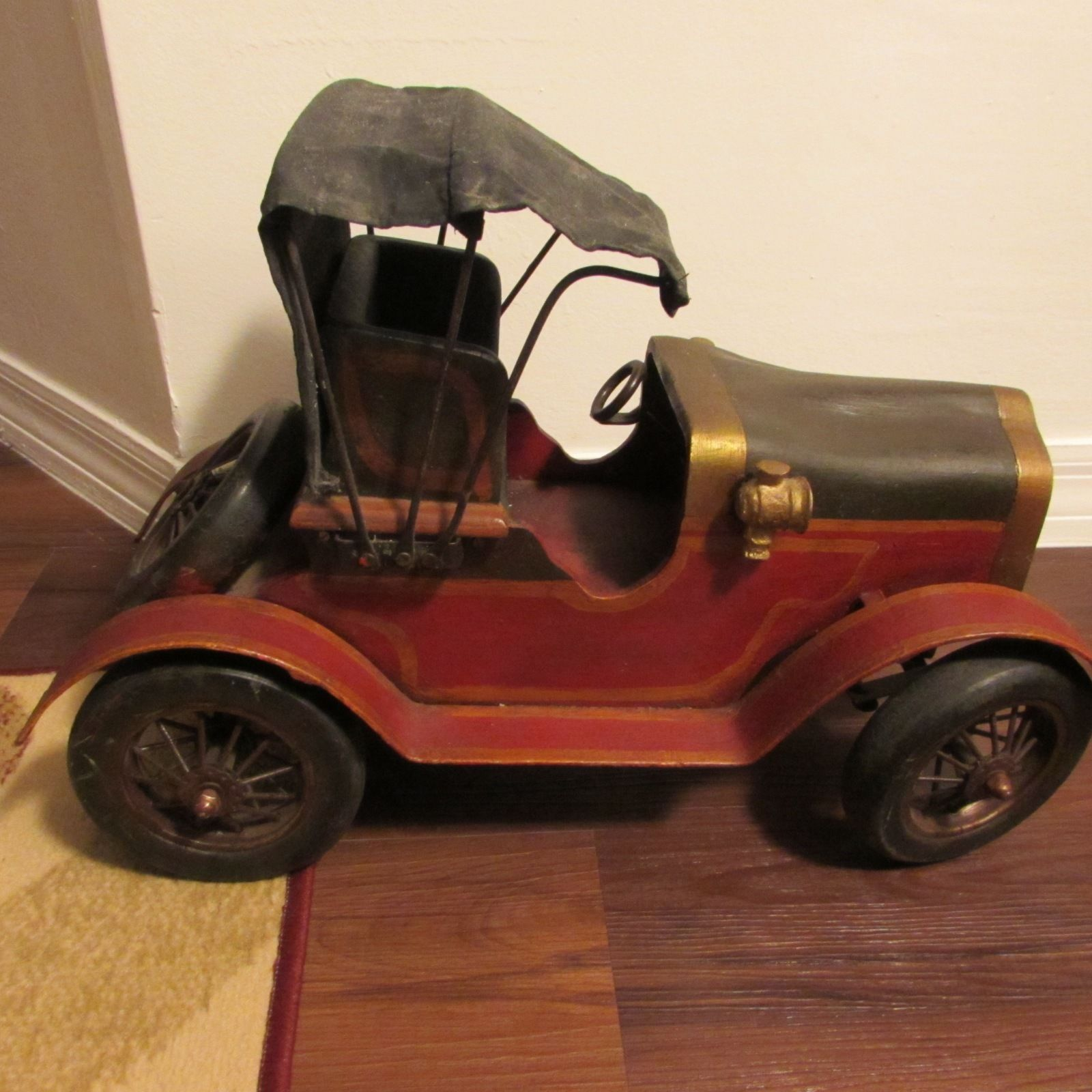 "Large 20"" Custom Made Antique Metal & Wood Wooden Ford Model T A Car Automobile"