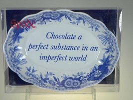 Spode Blue Room Oval Fluted Tray(Chocolate a Perfect Substance) NEW IN BOX - $9.85