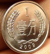 Gem Unc China 2009 1 Fen~National Emblem~Wreath~Free Shipping - $2.24