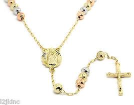 "3 Tone Gold 30"" Crystal Cut Ball Rosary Chain Jesus Cross Pendant w/ Gua... - £24.85 GBP"