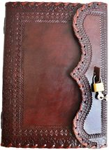 Handmade Leather Journal Book of Shadows w/ Lock and Key 200 Pages 10 In... - $42.00