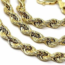 """18K YELLOW GOLD CHAIN NECKLACE 5.5 MM BIG BRAID ROPE LINK, 23.6"""", MADE IN ITALY image 2"""