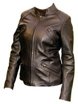 Alpakaandmore Women Lamb Nappa Leather Zipper Biker Moto Jacket Dark Brown (S... - $285.12