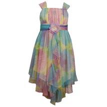 Tween Girls 7-16 Lavender-Purple Floral Print Cascade Mesh Hanky Hem Dress image 1