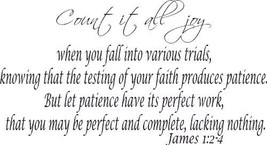 James 1:2-4, Vinyl Wall Art, Count All Joy, Trials, Testing, Patience, C... - $7.18