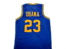 Barack Obama #23 Punahou High School Basketball Jersey Blue Any Size image 5