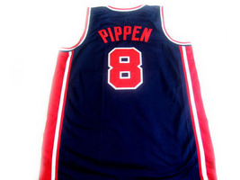 Scottie Pippen #8 Team USA Basketball Jersey Navy Blue Any Size image 5