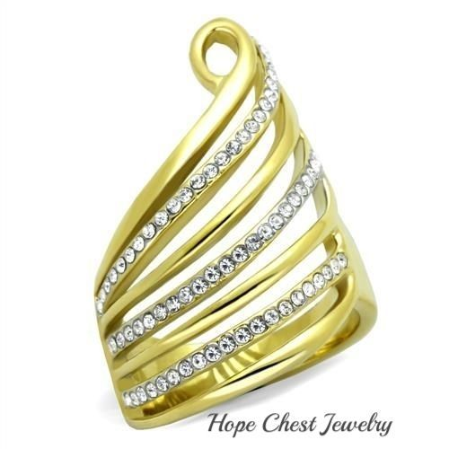 WOMEN'S GOLD TONE STAINLESS STEEL SWIRL CRYSTAL WIDE BAND RING SIZE 5 - 10