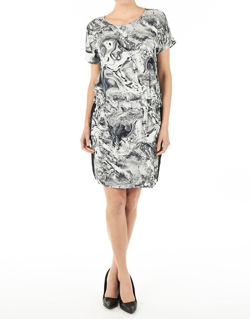 Minus Jurk Afreen Womens Black White Liquid Print Dolman Sleeve Dress Small - $47.99